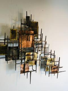 B H Kelvin SIGNED MONUMENTAL BRUTALIST MIXED METAL AND NAIL WALL SCULPTURE - 1164602