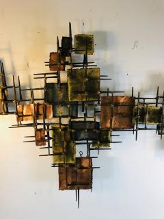 B H Kelvin SIGNED MONUMENTAL BRUTALIST MIXED METAL AND NAIL WALL SCULPTURE - 1164603