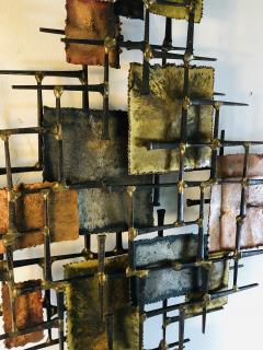 B H Kelvin SIGNED MONUMENTAL BRUTALIST MIXED METAL AND NAIL WALL SCULPTURE - 1164605