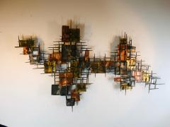 B H Kelvin SIGNED MONUMENTAL BRUTALIST MIXED METALS AND NAILS WALL SCULPTURE - 1165155