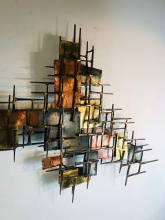 B H Kelvin SIGNED MONUMENTAL BRUTALIST MIXED METALS AND NAILS WALL SCULPTURE - 1165157