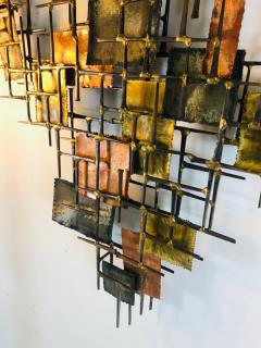 B H Kelvin SIGNED MONUMENTAL BRUTALIST MIXED METALS AND NAILS WALL SCULPTURE - 1165158