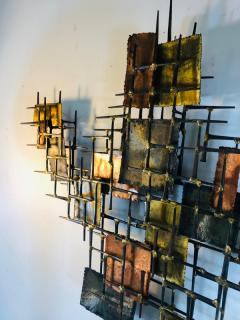 B H Kelvin SIGNED MONUMENTAL BRUTALIST MIXED METALS AND NAILS WALL SCULPTURE - 1165159