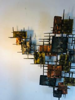 B H Kelvin SIGNED MONUMENTAL BRUTALIST MIXED METALS AND NAILS WALL SCULPTURE - 1165161
