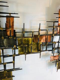 B H Kelvin SIGNED MONUMENTAL BRUTALIST MIXED METALS AND NAILS WALL SCULPTURE - 1165163