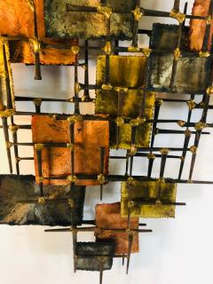 B H Kelvin SIGNED MONUMENTAL BRUTALIST MIXED METALS AND NAILS WALL SCULPTURE - 1165164