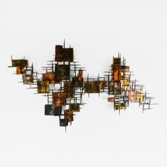 B H Kelvin SIGNED MONUMENTAL BRUTALIST MIXED METALS AND NAILS WALL SCULPTURE - 1167734