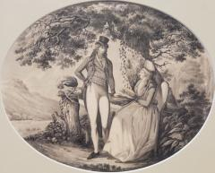 B Koller Ink Drawing of a Man Courting A Woman Signed by B Koller dated 1796 - 1172500