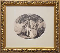 B Koller Ink Drawing of a Man Courting A Woman Signed by B Koller dated 1796 - 1172501