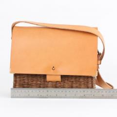 B n dicte Magnin Robert Bespoke Leather and Willow Bark Crossbody Bag Le D vou  - 1681679