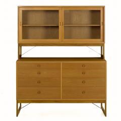 B rge Mogensen B rge Mogensen Danish Mid Century Modern Oak Bookcase Cabinet over Dresser - 1119267