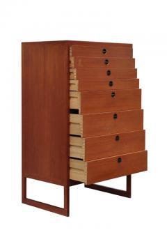 B rge Mogensen Borge Mogensen Teak Tall Chest of Drawers with Brass Pulls Denmark 1950s - 1030296