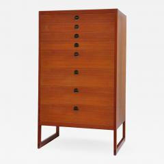 B rge Mogensen Borge Mogensen Teak Tall Chest of Drawers with Brass Pulls Denmark 1950s - 1030495