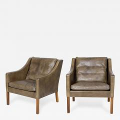 B rge Mogensen Pair of B rge Mogensen Model 2207 Leather Lounge Chairs - 179299