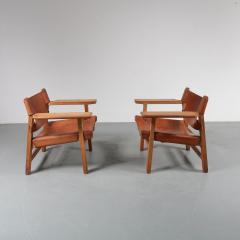 B rge Mogensen Pair of Borge Mogensen Spanish Chairs for Fredericia Denmark 1950 - 1143529