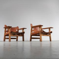 B rge Mogensen Pair of Borge Mogensen Spanish Chairs for Fredericia Denmark 1950 - 1143530