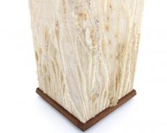 BETTY WILLIAMS HANDWOVEN TAPESTRY TEAK TABLE LAMP BY AMERICAN ARTIST BETTY WILLIAMS CIRCA 1980 - 2088431