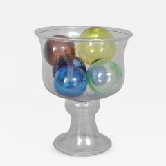 BLOWN FISH BOWL WITH A GROUP OF SIX BLOWN WITCH BALLS AND PACKING BALLS - 725067