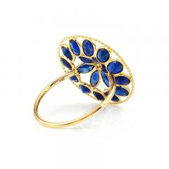 BLUE SAPPHIRE AND DIAMOND FLORAL RING 18K YELLOW GOLD - 2077483