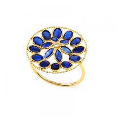 BLUE SAPPHIRE AND DIAMOND FLORAL RING 18K YELLOW GOLD - 2077484