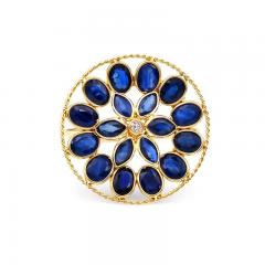BLUE SAPPHIRE AND DIAMOND FLORAL RING 18K YELLOW GOLD - 2077486