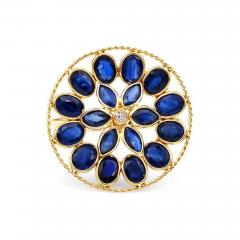 BLUE SAPPHIRE AND DIAMOND FLORAL RING 18K YELLOW GOLD - 2077727