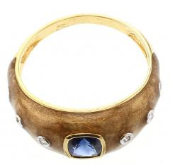 BROWN ENAMEL RING WITH BLUE SAPPHIRE AND DIAMONDS 18K YELLOW GOLD - 1933841