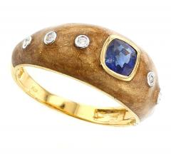 BROWN ENAMEL RING WITH BLUE SAPPHIRE AND DIAMONDS 18K YELLOW GOLD - 1933842