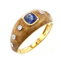 BROWN ENAMEL RING WITH BLUE SAPPHIRE AND DIAMONDS 18K YELLOW GOLD - 1933843