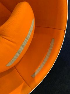 Ball Chair by Adelta Eero Aarino Orange and White Space Age Made in Finland - 1316608