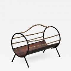 Bamboo Brass Fireplace Wood Holder in Copper and Wrought Iron - 538820