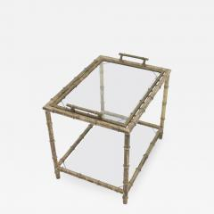 Bamboo Table with Tray Aluminum and Glass France 1930s - 1037373
