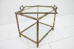 Bamboo Table with Tray Aluminum and Glass France 1930s - 868198