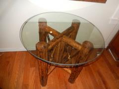 Bamboo and Tortoiseshell Finish Circular Dining Room Table - 1312020