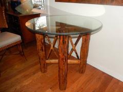 Bamboo and Tortoiseshell Finish Circular Dining Room Table - 1312021