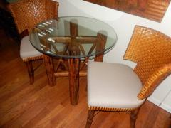 Bamboo and Tortoiseshell Finish Circular Dining Room Table - 1312022