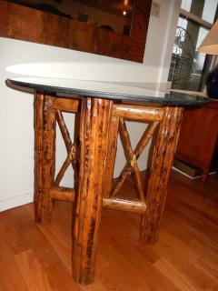 Bamboo and Tortoiseshell Finish Circular Dining Room Table - 1312023