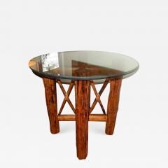 Bamboo and Tortoiseshell Finish Circular Dining Room Table - 1312880