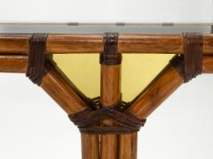 Bamboo and brass French console table black glass top 1970s - 1852962