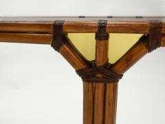 Bamboo and brass French console table black glass top 1970s - 1852967