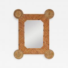 Bamboo and rattan mirror by Arpex 1970s - 1440899
