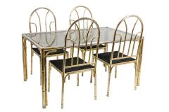 Bamboo style dining table and four chairs in silvered brass 1980s - 2124989