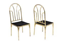 Bamboo style dining table and four chairs in silvered brass 1980s - 2124990
