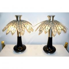 Banci 1975 Banci Italian Art Deco Pair of Mother of Pearl Black Ebonized Palm Lamps - 1510331
