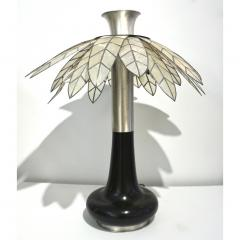 Banci 1975 Banci Italian Art Deco Pair of Mother of Pearl Black Ebonized Palm Lamps - 1510332