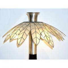 Banci 1975 Banci Italian Art Deco Pair of Mother of Pearl Black Ebonized Palm Lamps - 1510333