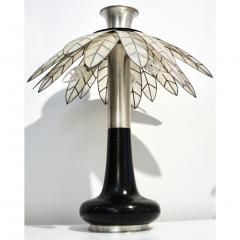 Banci 1975 Banci Italian Art Deco Pair of Mother of Pearl Black Ebonized Palm Lamps - 1510335