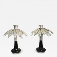 Banci 1975 Banci Italian Art Deco Pair of Mother of Pearl Black Ebonized Palm Lamps - 1510950