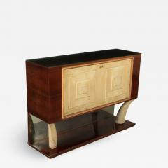 Bar Cabinet Rosewood Parchment Mirror Italy 1940s - 2145243