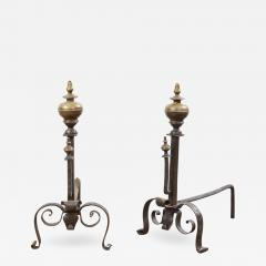 Baroque Bronze and Wrought Iron Andirons - 2002635